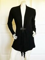 EILEEN FISHER Black 100% Cashmere Long Sleeve  Long Sweater Size: PM