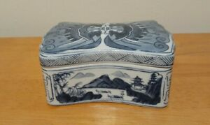 Vintage Blue And White Chinese Lidded Trinket Box.