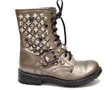 ASH Ryanna Metallic Gunmetal Studded Lace Up Moto Combat Boots Size EUR 37