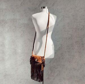 Ralph Lauren Collection Leather boho fringe crossbody Bag Southwestern Suede