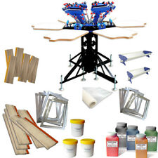 6 Color Screen Printing Press Materials Kit Silk Screen Press Squeegee  Frame