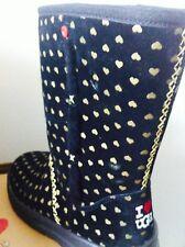 NEW RARE Ugg Size 5 Black Boots Gold Hearts Kisses I LOVE UGG Shearling FREE
