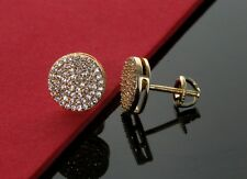Men Hip Hop 14K Gold Plated CZ Iced Out Round Micro Pave Earring Screw Back