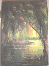 """AFRICAN MADAGASCAR POST IMPRESSIONIST OIL PAINTING BY PASI   23"""" X 33"""""""