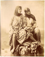 Zangaki Egypt Two young girls in traditional costume Albumen photo 1880c XL393