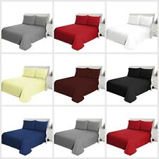Washable Plain Dyed Flat Bed Sheet Single Double King Size OR Pillow Cases