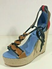 Ladies Wedge Espadrille Shoes Blue + Red Sandals Holiday Beach Society UK 4/37
