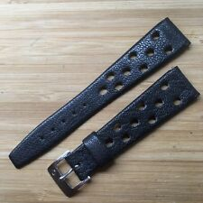 Vintage Possible Corfam Watch Strap With Certina Buckle. 19mm Strap Ends.