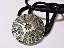 PEWTER OR SILVER PLATE VINTAGE BOLO TIE ETCHED AZTEC EUROPEAN ABSTRACT ARTSY