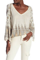 Free People Womens Medallion OB823527 Top Relaxed Neutral Beige Size XS