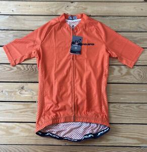 weimostar NWT men's full zip short sleeve cycling Jersey size M orange