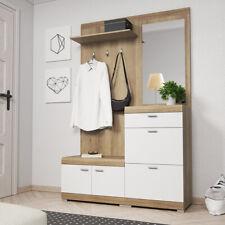Vestiaire Meuble d'entrée SEVID blanc chêne miroir patère range-chaussures