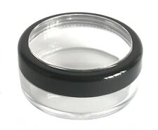 10 x 20ml THICK WALL Empty Small Plastic JAR Black Rim Cosmetic/Craft/Travel Pot