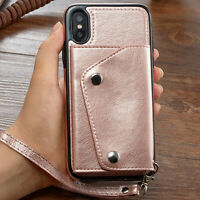 Leather Wallet Case Wrist Strap Flip Cover Card for iPhone XS MAX XR 8/7/6s Plus