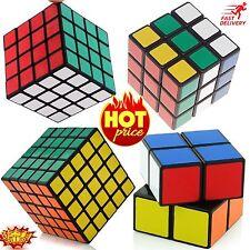 SET OF 4 Rubiks Cube Speed Puzzle Magic 2x2 3x3 4x4 5x5 Kids Toy Game Gift Black