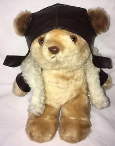 "Gerhardshofen Bruch Pilot Plush Teddy Bear 10"" Bomber Jacket Helmet Used Soft"