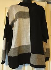 WOMENS SWEATER BLACK GRAY WHITE STRIPED CLIFTON PLACE 23