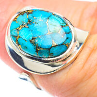Blue Copper Turquoise 925 Sterling Silver Ring Size 6 Ajustable Jewelry R51139F