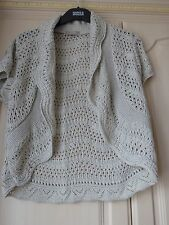 Ladies Shrug type cardigan in beige with silver thread Size 14