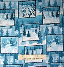 Christmas Fabric - Winter Frost Woodland Animal Patch Blue - Henry Glass YARD