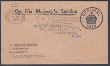1941 WRNS Chatham; Admiralty Service; OHMS Official Paid: Gilllingham, Kent