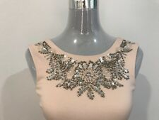 LIPSY WOMEN'S NUDE PEPLUM DRESS SIZE 6 BEADED