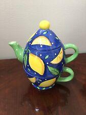 Bella Casa By Ganz Hand Painted Stacked Cup & Teapot Lemon Design Euc