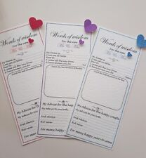12 Handmade Personalised Wedding advice words of wisdom favour trivia cards