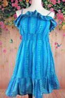 O.P. Women's Spaghetti Strap Blue Summer Print Ruffled Dress Sz L (11-13)