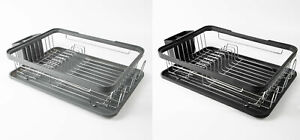 🔥 Grey or Black Kitchen Dish Drainer Rack with Plastic Drip Tray Cutlery Holder