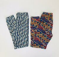 Lot 2 Pair Women's Stretch One Size Leggings Pattered Multicolored