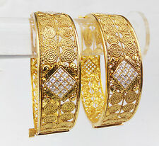 South Indian Bangles Bollywood Zirconia Gold Plated Beautiful Jewelry Set 2.8*