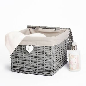 Wickerfield Grey Painted Square Wicker Storage Basket with Lining and Lid
