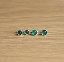 925 sterling silver stud earrings with Green Onyx cabochons