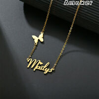 Amaxer Personalized Butterfly Letter Custom Name Necklace Woman Mom Gift Jewelry