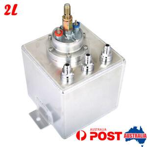 2L Aluminum Fuel Surge Tank 6AN With 044 E85 External Fuel Pump Universal Silver