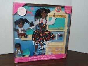 African American Teacher Barbie Doll B13915 w children NEW 1995 NRFB Talks Sound