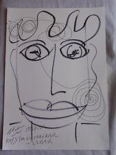 Royston Du Maurier-Dibujo Original LEBEK firmado Fieltro Punta Pluma de la cara en papel (T)