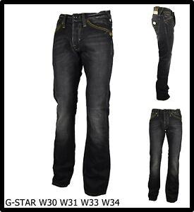 jeans uomo g-star w34l34 a vita bassa neri pantaloni bootcut gamba larga dritta