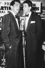 Dean Martin Jerry Lewis in tuxedos 1950's  speaking into mike 11x17 Mini Poster