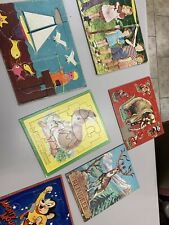 Lot of 6 Vintage Puzzles Animals Mighty Mouse Kids Playing Built Rite 1960's