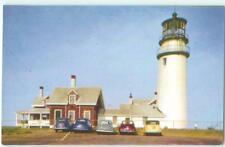Cape Cod Massachusetts Highland Lighthouse & Cars 1950s Antique Postcard  26150