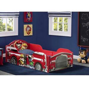Toddler Bed Frame Kids Boys Wood Paw Patrol Fire Truck Rails Bedroom Furniture