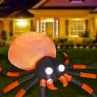12 Ft Long Halloween Inflatables Spider Decorations, Bulti-in Orange LED Lights