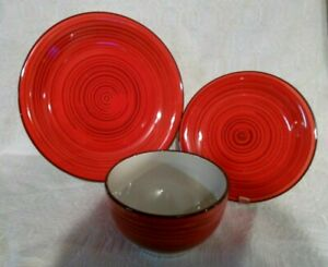 Better Homes & Gardens Festival Dishes 3 pc RED-dinner, salad, soup/cereal bowl