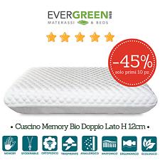 Cuscino Guanciale Memory Foam Bio Saponetta Doppio Lato 72x42 h12 cm Ecologico