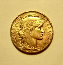 """1912 French Gold 20 Franc's """" Rooster """" KM # 857 - Nice U-Grade!"""