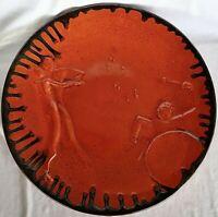Large Art Deco Upsala Ekeby Pottery Einar Lutherkort 1930 Jazz Plate 13in 33cm