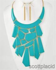 Wedding bridal turquoise gold chunky women fashion jewelry earring necklace set