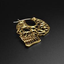 Brass Plug Hoops Earrings | Sugar Skull | Lead Nickel Free | Ear Hangers | Pair